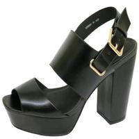 View Item LADIES ANKLE STRAP PLATFORM CHUNKY HIGH BLOCK HEEL PEEPTOE SANDAL SHOES SIZE 2-9