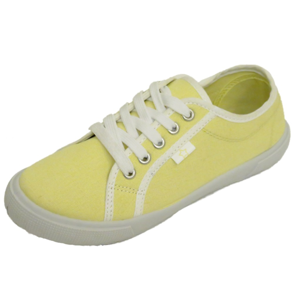 womens yellow canvas lace up flat trainer plimsoll pumps