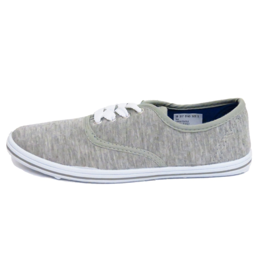 LADIES LACE-UP GREY CANVAS FLAT TRAINER PLIMSOLL PUMPS CASUAL SHOES SIZES 3-8 | EBay