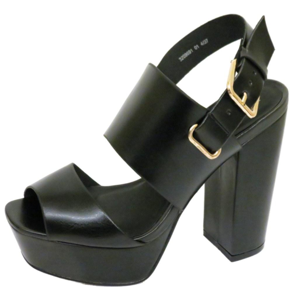 womens black platform chunky block heel peep toe sandals