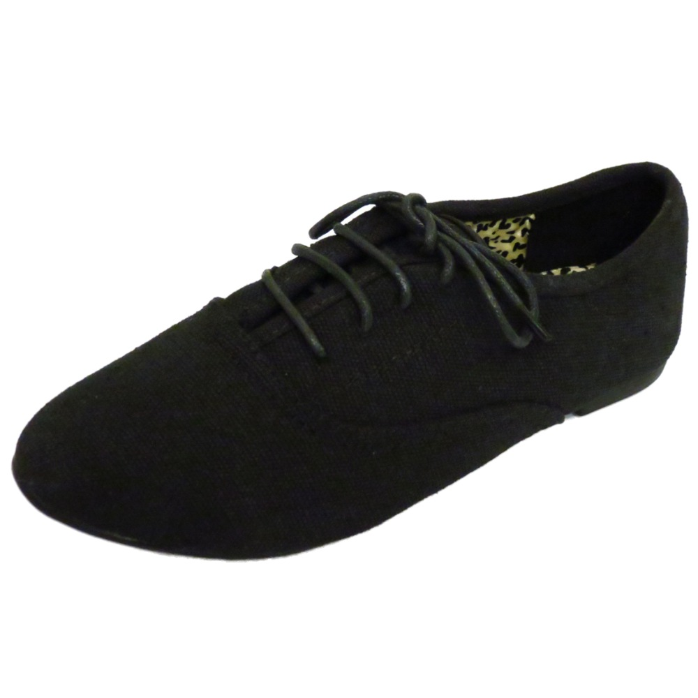 GIRLS KIDS CHILDRENS BLACK LACE-UP CANVAS BROGUES SCHOOL ...