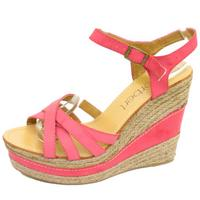View Item LADIES PINK HESSIAN SUMMER STRAPPY WEDGE ANKLE SANDALS SHOES SIZE 3-8 SECONDS