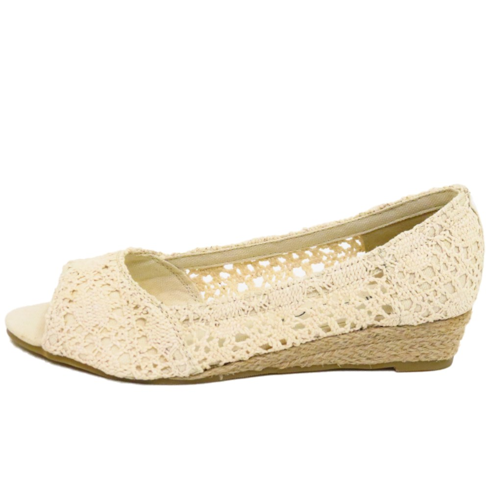 LADIES BEIGE CROCHET PEEP-TOE SLIP-ON HESSIAN WEDGE KITTEN HEEL ...