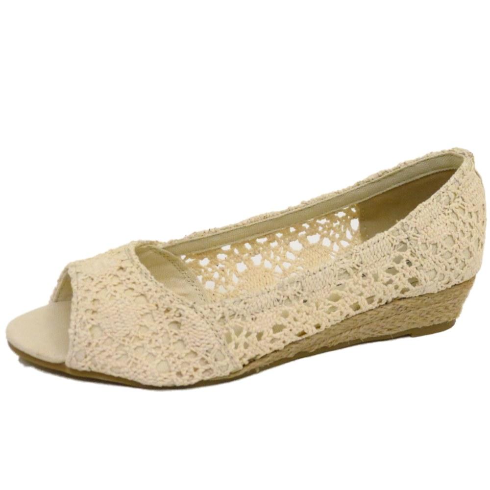 Mujeres Beige Peep-Toe Slip-on Bajo Cuña Verano Cómodos Zapatos Bombas De Ganchillo 4-9