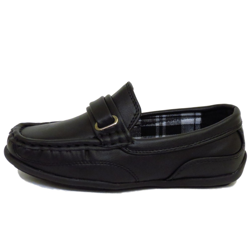 Kids boys childrens black smart slip on school loafers pumps shoes