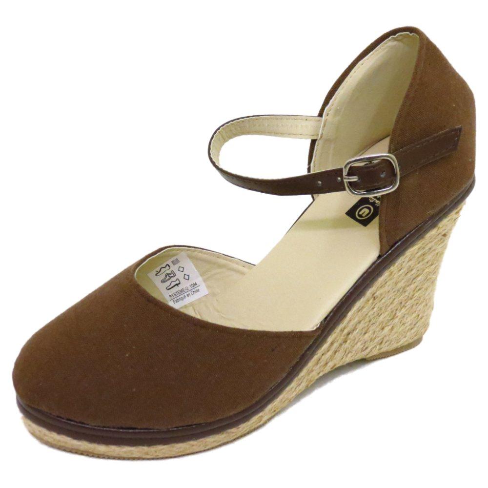 Señoras marrón Hesse Verano Con Tiras De Cuña Alpargatas Sandalias Zapatos Talla 3-8