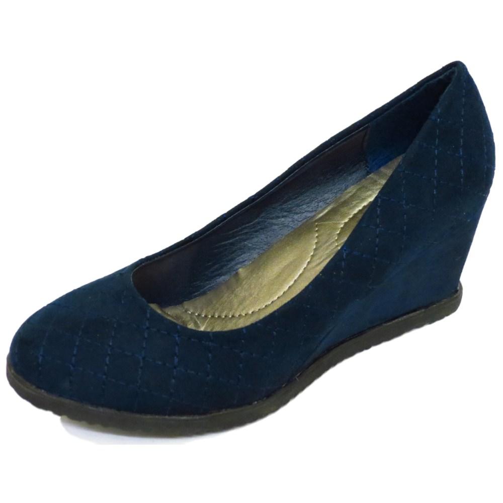 navy smart slip on wedge platform court work shoes