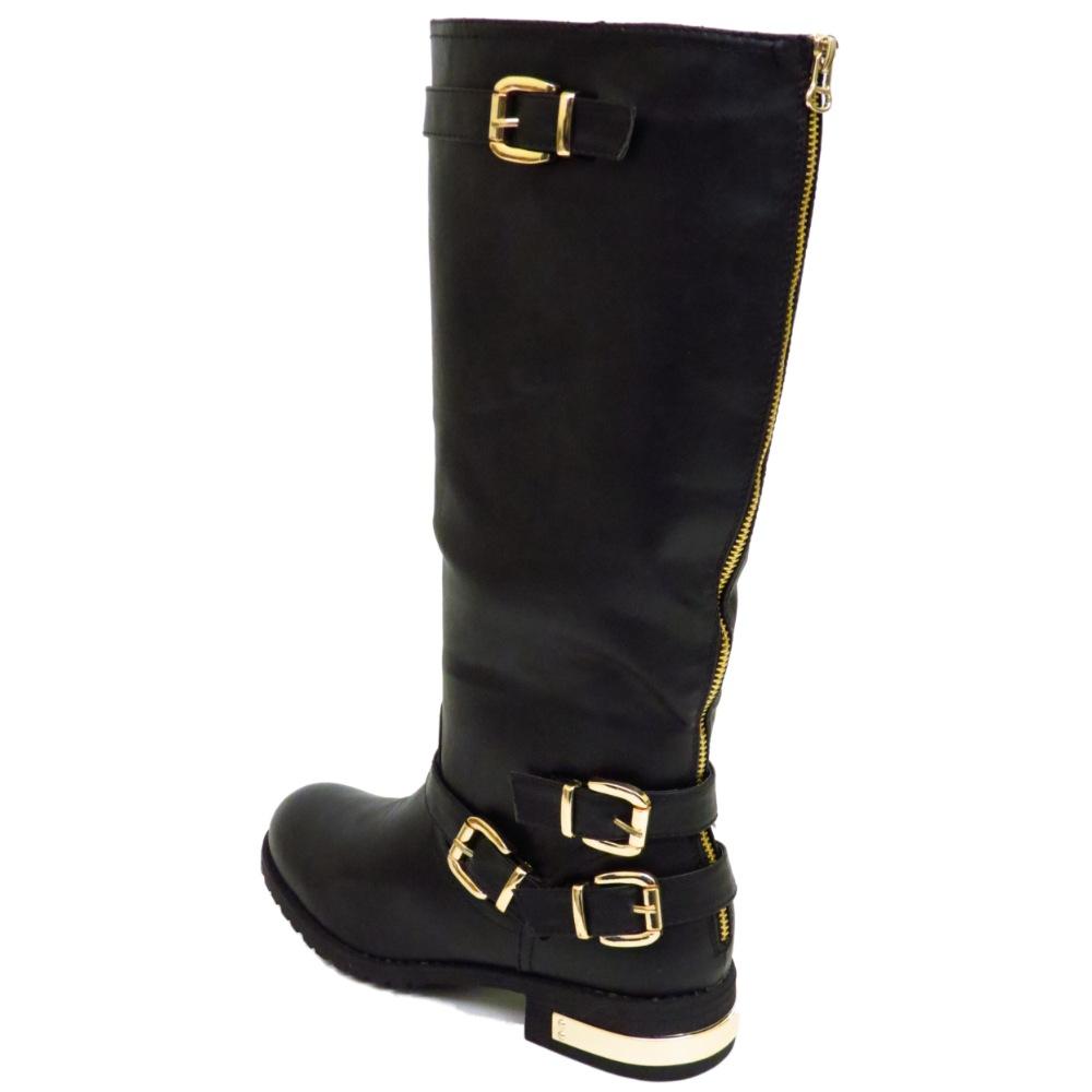 ladies flat black exdesigner zip biker knee wide fit tall