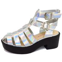 View Item LADIES SILVER DOLCIS CHUNKY GLADIATOR PLATFORM SUMMER SANDALS SHOES SIZE 3-8