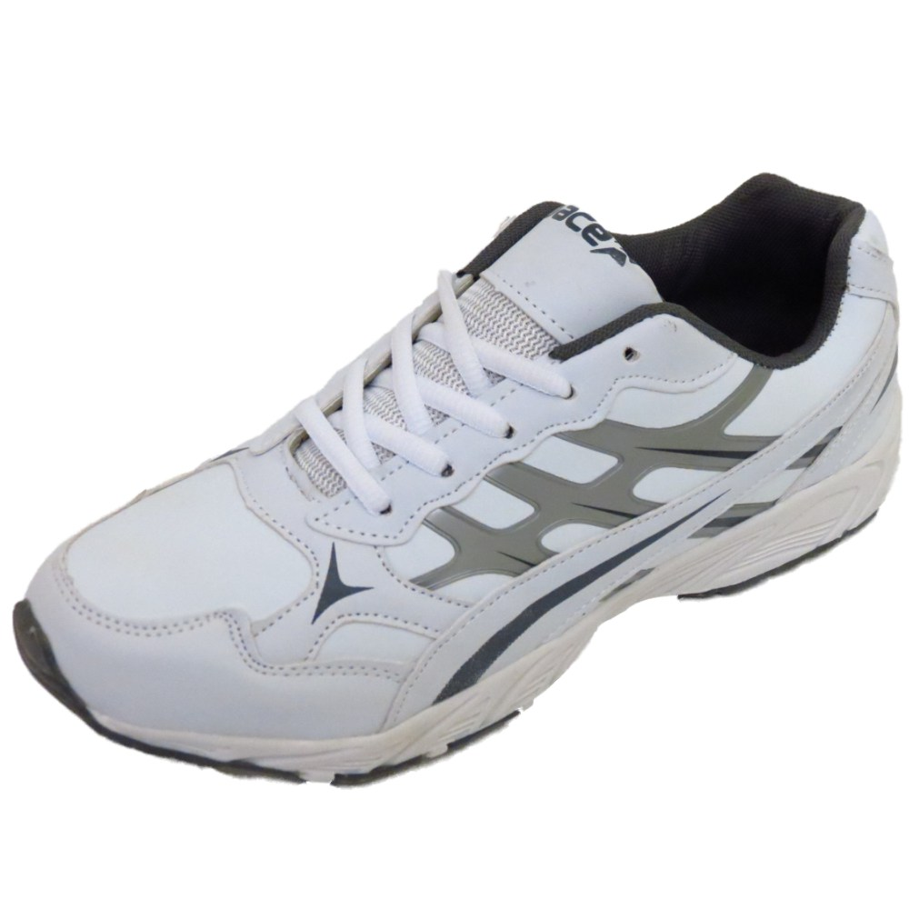 mens lace up white sports trainers running casual