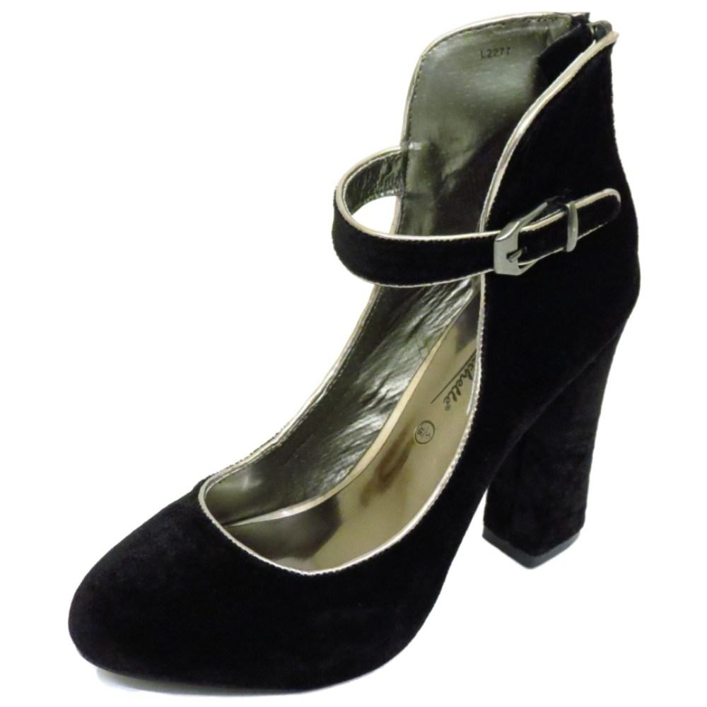 black velvet court work mid heel ankle