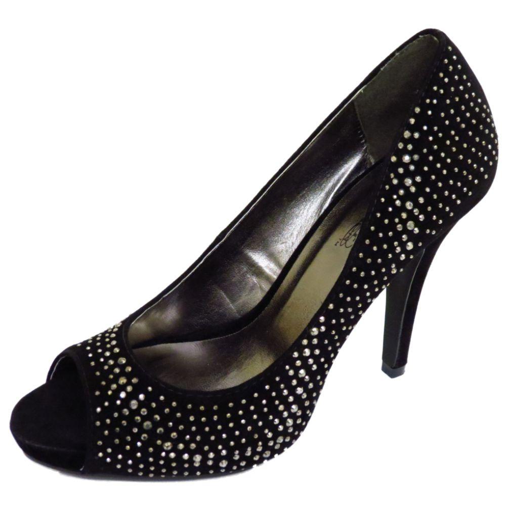 black slip on peep toe diamante evening prom court