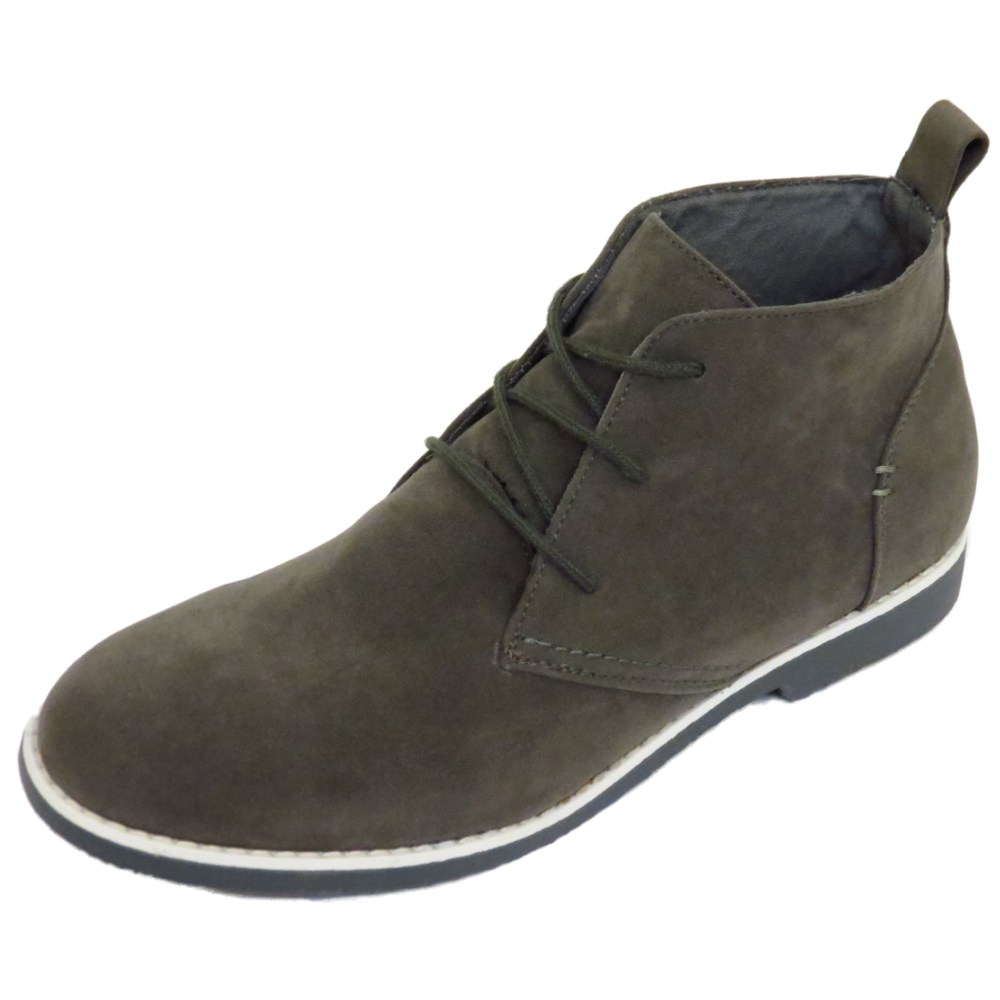 mens grey casual lace up fashion ankle desert boots mod
