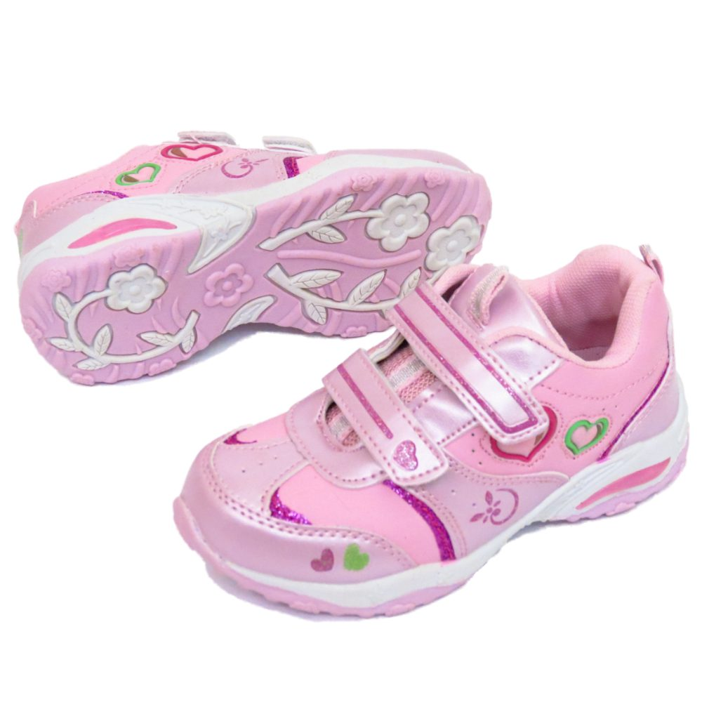 childrens pink velcro trainers pumps flat