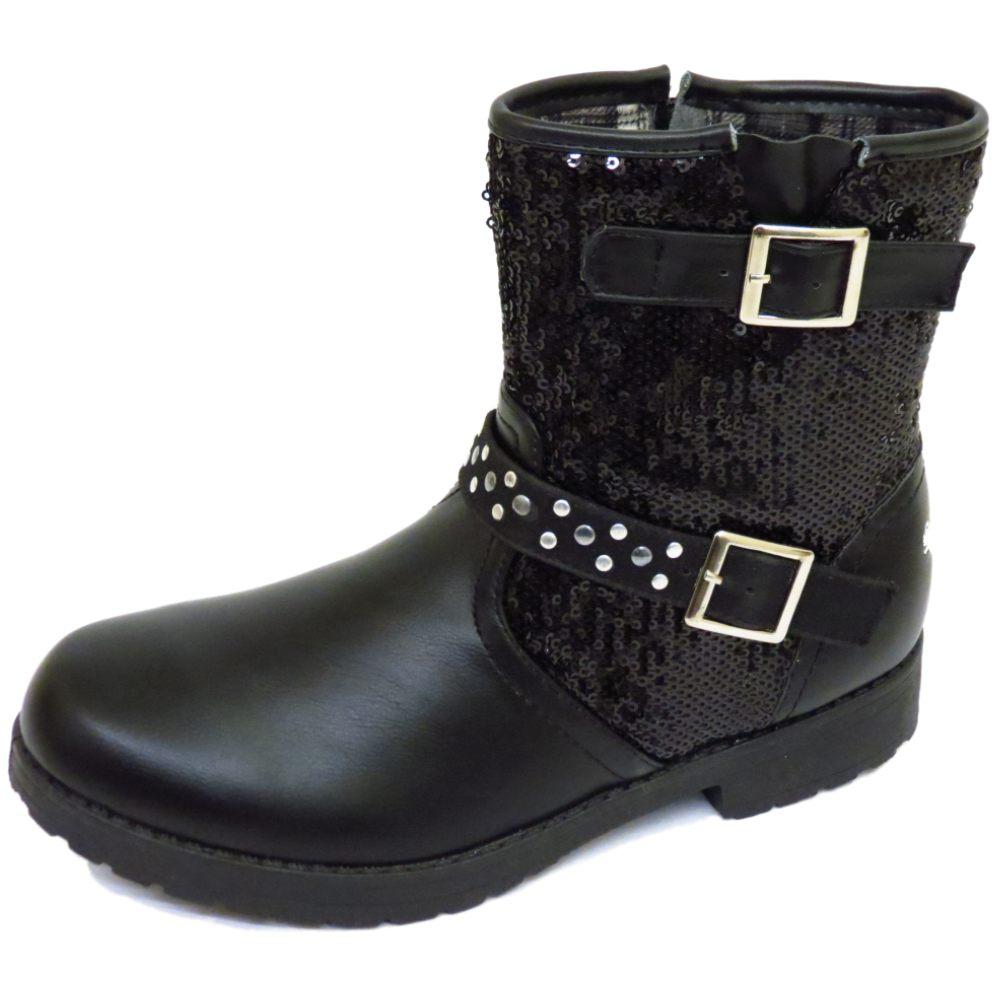childrens black zip buckle sequin ankle fashion