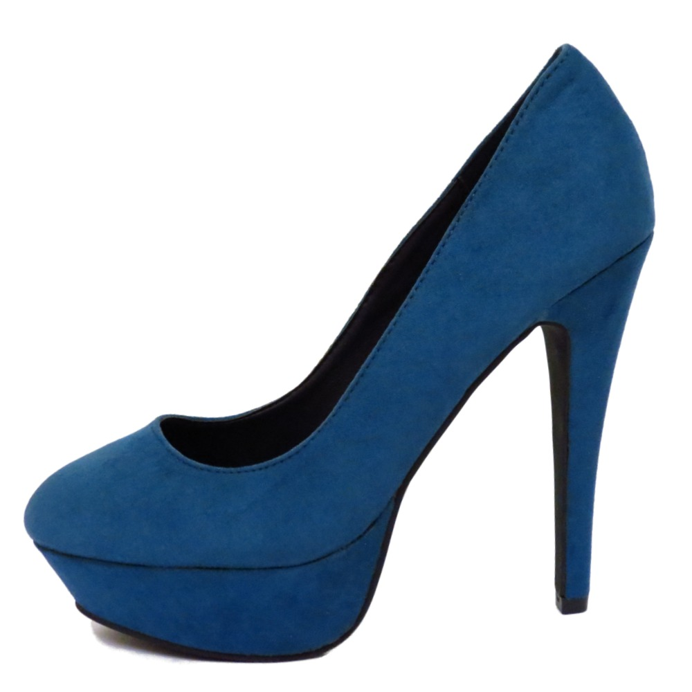 blue slip on platform high heel stiletto court work