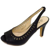View Item LADIES BLACK OPEN-TOE SLING-BACK LOW HEEL WORK COURT SHOES PUMPS SIZES 3-8