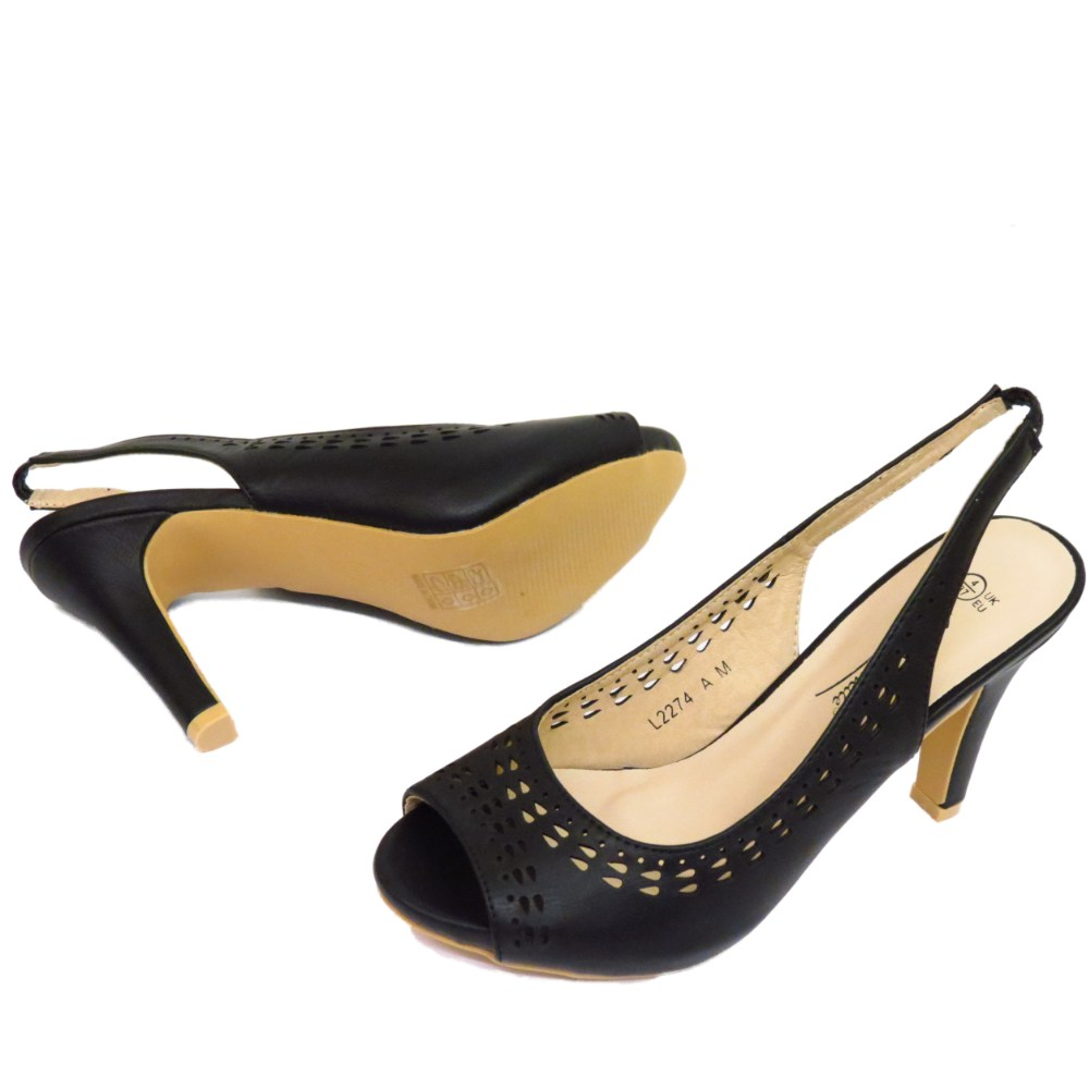femmes noir bout ouvert bride arri re talon bas escarpins travail chaussures ebay. Black Bedroom Furniture Sets. Home Design Ideas