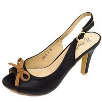 View Item LADIES BLACK SLING-BACK LOW HEEL OPEN-TOE WORK COURT SHOES PUMPS SIZES 3-8