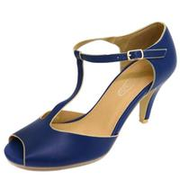 View Item LADIES NAVY OPEN-TOE T-BAR LOW HEEL MARY JANE COURT WORK SHOES PUMPS SIZE 3-8