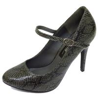 View Item LADIES SNAKE SLIP-ON COURT WORK SECRETARY MARY-JANE MID HEEL SHOES SIZES 3-8