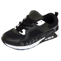 View Item BOYS GIRLS KIDS CHILDRENS BLACK SCHOOL TRAINERS LACE FLAT SPORTS SHOES SIZE 10-5
