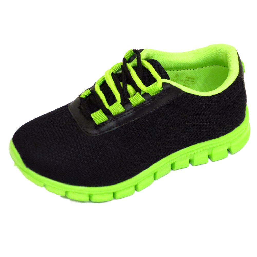 Details about BOYS GIRLS KIDS CHILDRENS BLACK SCHOOL TRAINERS LACE FLAT SPORTS SHOES SIZE 10 5