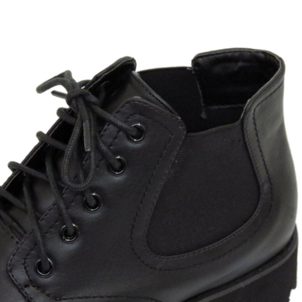 Señoras Plana Dolcis Negro Encaje Plataforma Chelsea Punk Tobillo Botas Zapatos Talla 3-8