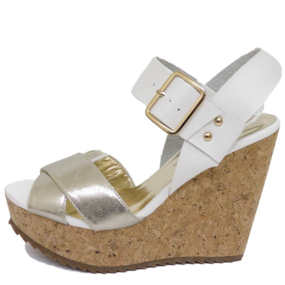 LADIES DOLCIS WHITE SILVER CORK WEDGES PLATFORM SANDALS