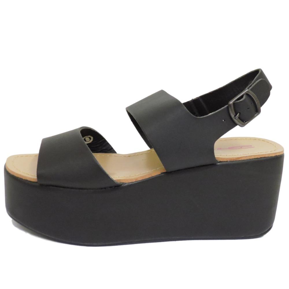 Black sandals chunky - Ladies Dolcis Black Flat Form Platform Chunky Sandals