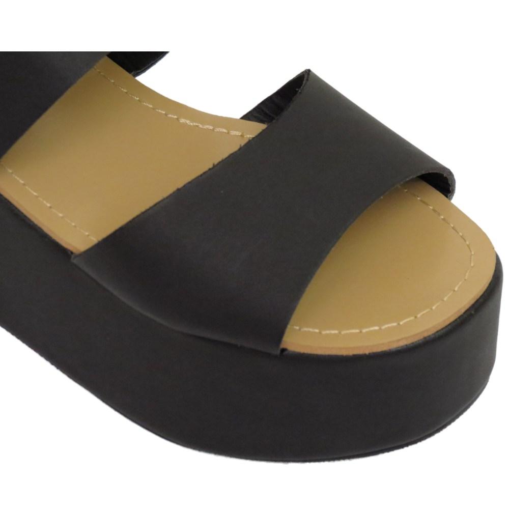 dolcis black flat form platform chunky sandals