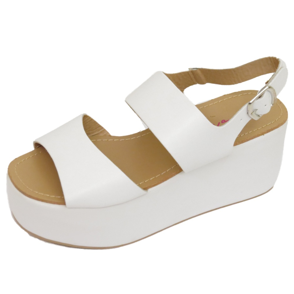 Ladies White Leather Flat Shoes