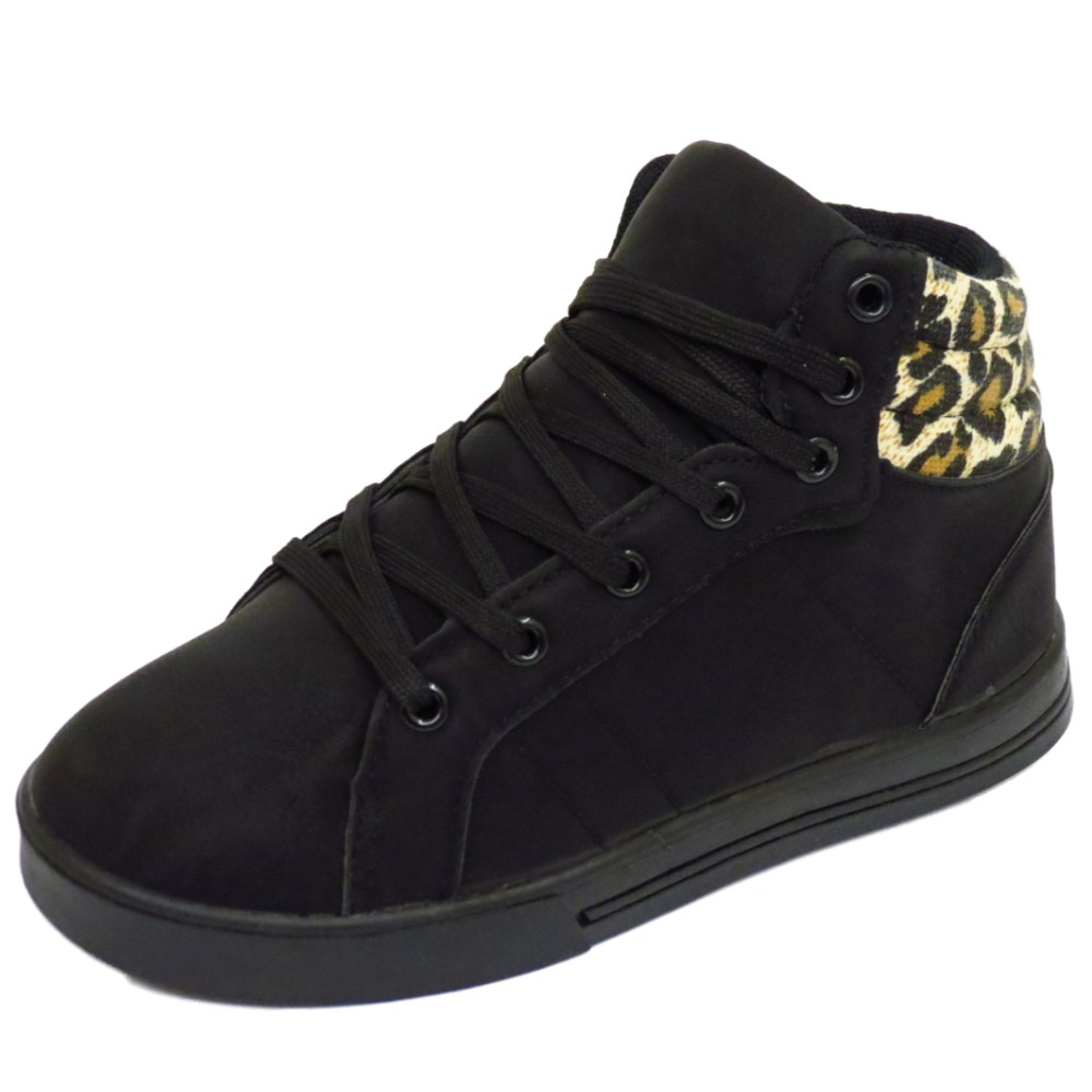 childrens black leopard lace trainers flat