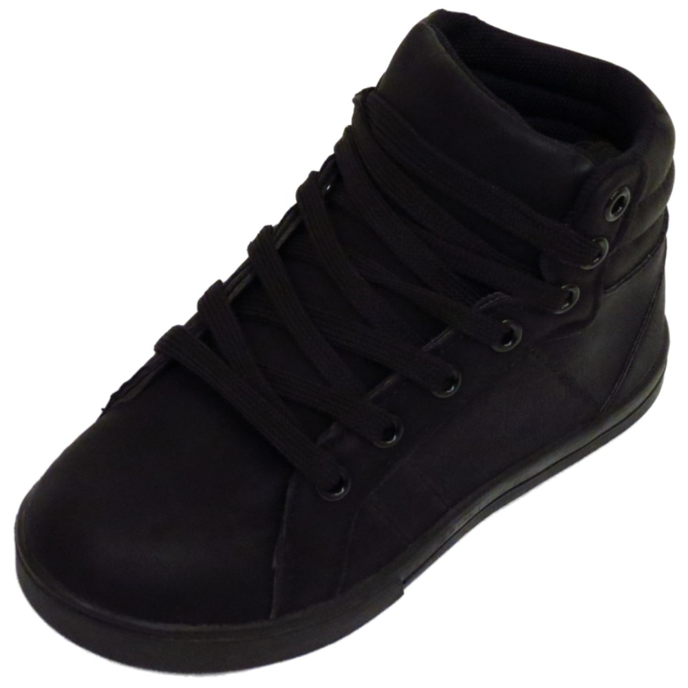 boys childrens black lace trainers flat boots school