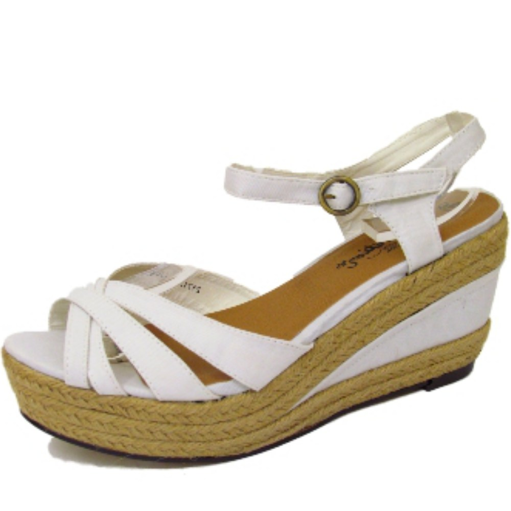 denim hessian strappy wedge ankle platform