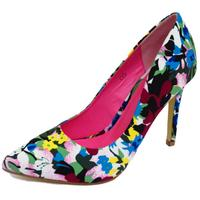View Item LADIES DOLCIS BLUE FLORAL SLIP-ON STILETTO HIGH HEEL POINTY COURT SHOES UK 3-8