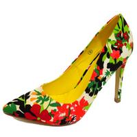 View Item LADIES DOLCIS GREEN FLORAL SLIP-ON STILETTO HIGH HEEL POINTY COURT SHOES UK 3-8