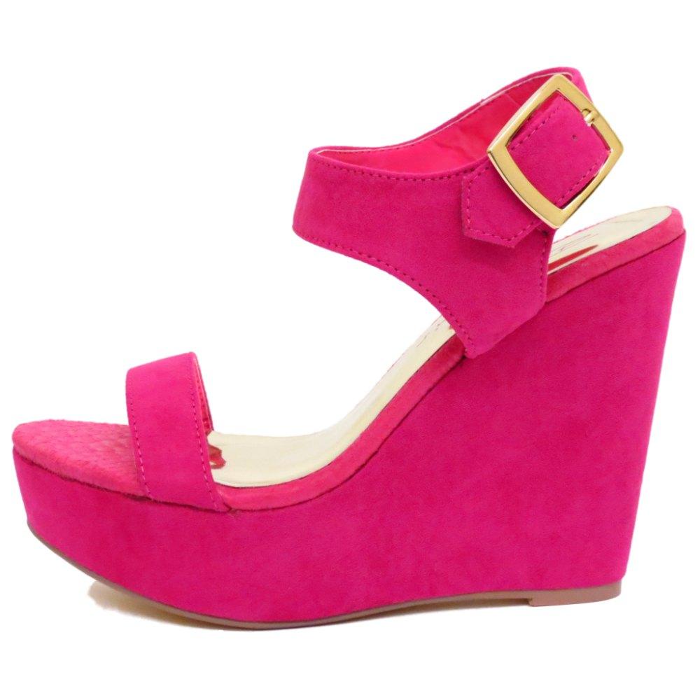 dolcis pink fuchsia wedge platform sandals peep toe