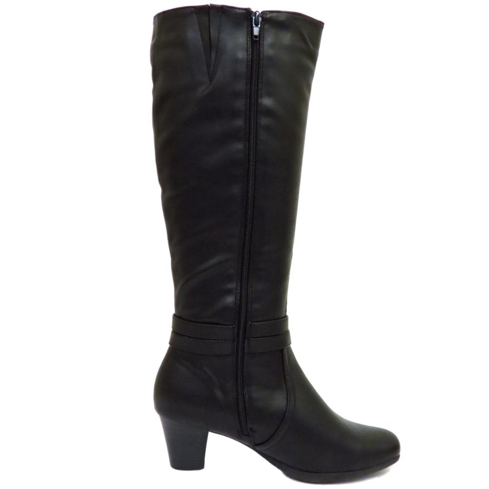 black knee high zip up low heel winter warm