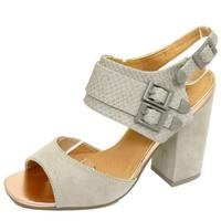View Item LADIES DOLCIS GREY CHUNKY HEEL ANKLE STRAP PEEP-TOE SANDALS SHOES SIZES 3-8