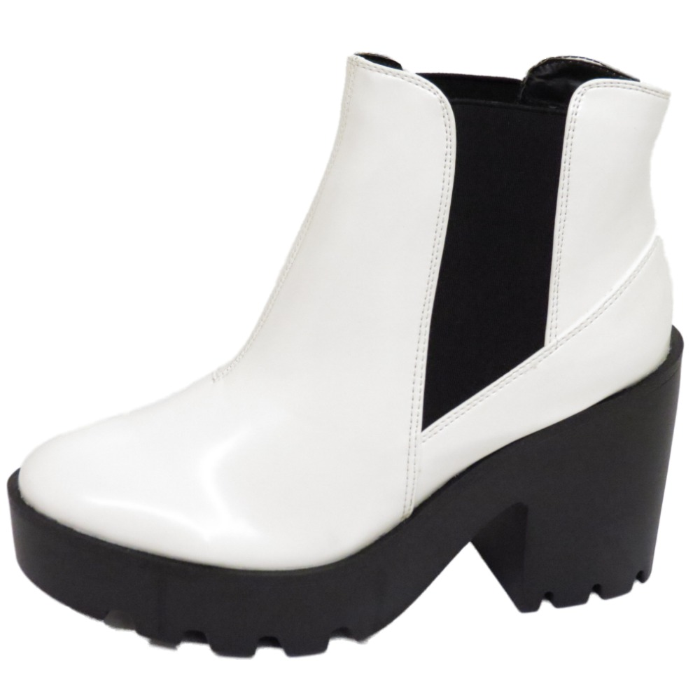 dolcis white chelsea ankle boots chunky heel