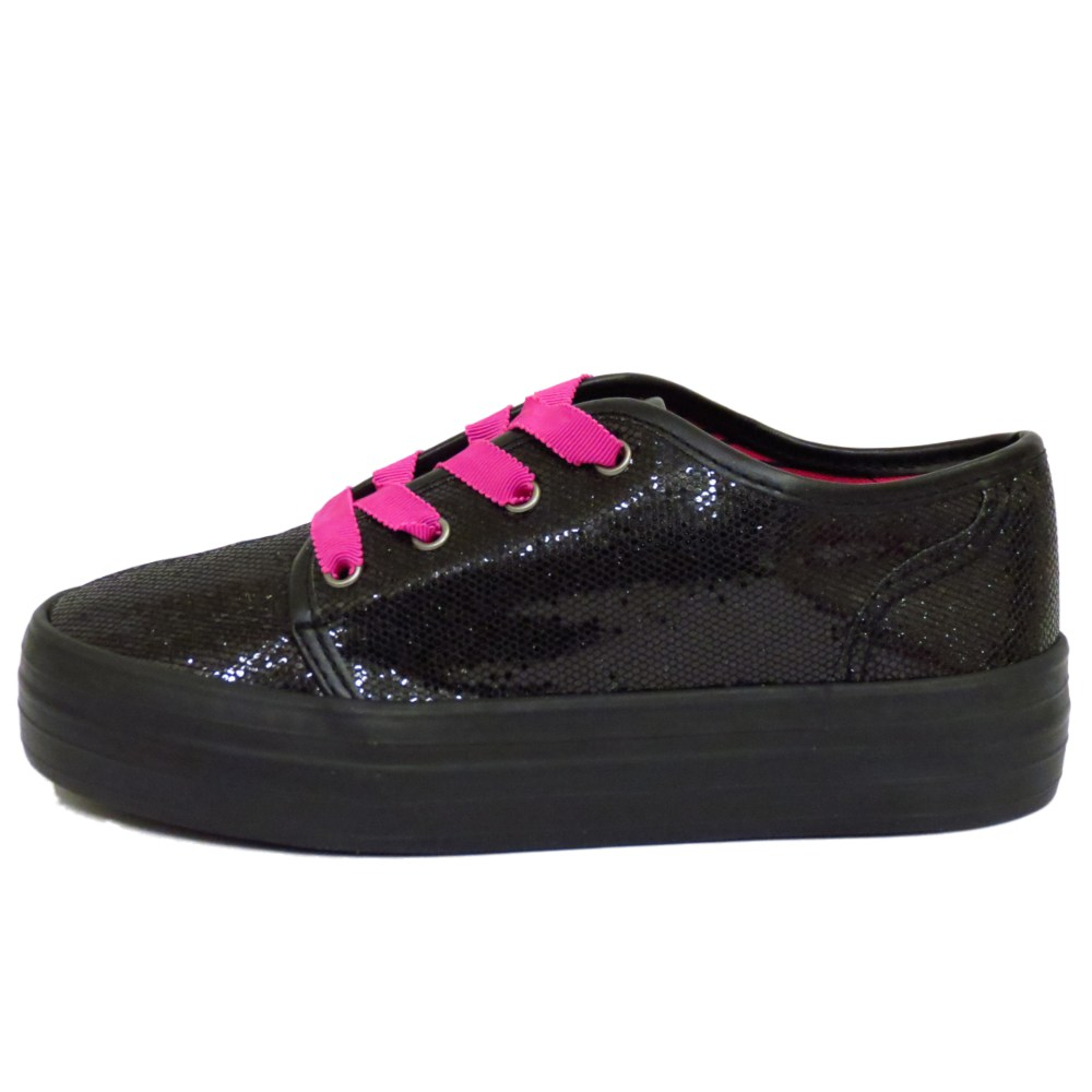 KIDS GIRLS FLAT BLACK LACE-UP SEQUIN PUMP DANCE CHUNKY SOLE SHOES SIZES 13-4
