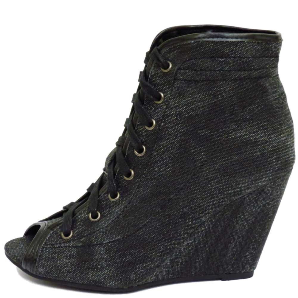 charcoal black lace up peep toe wedge ankle boots