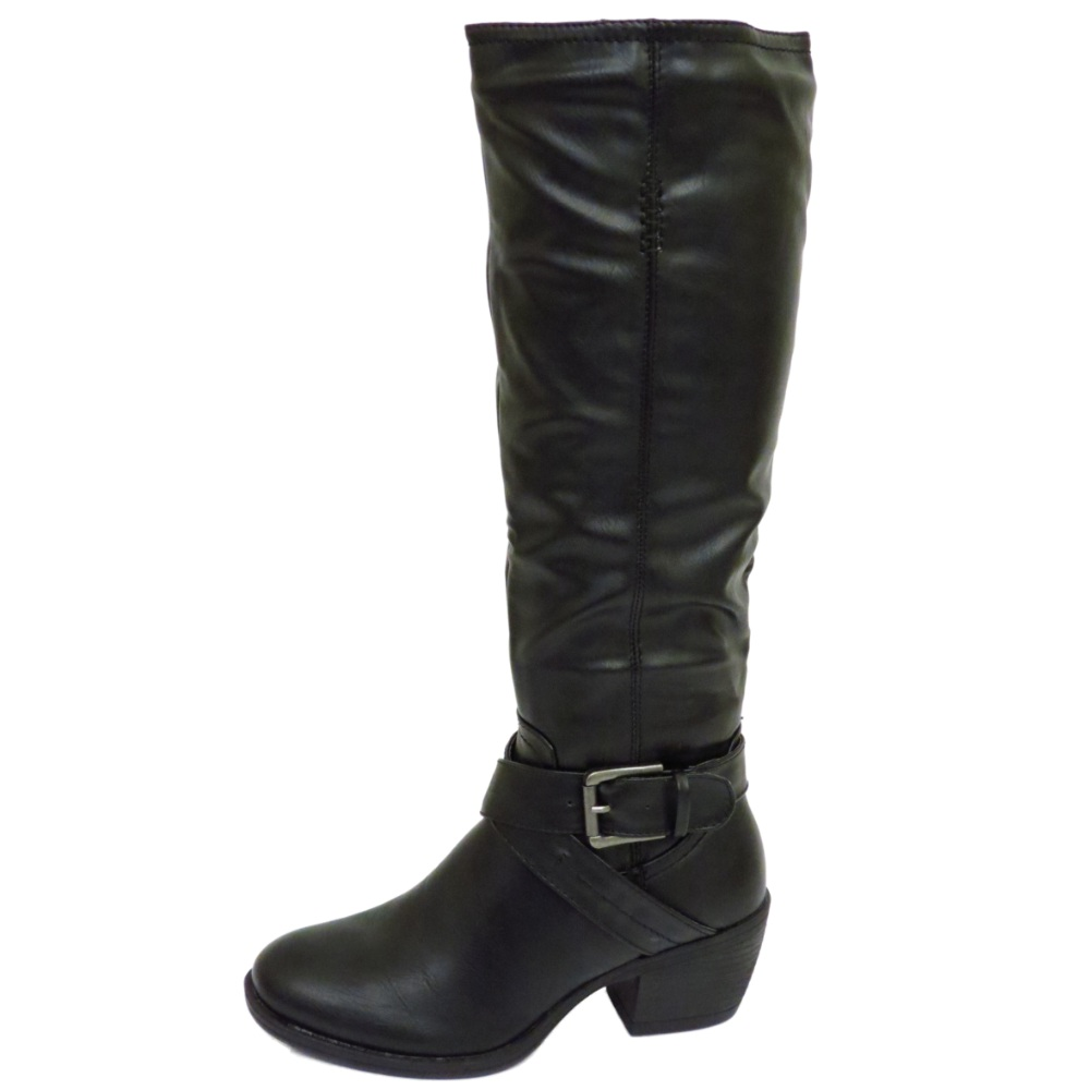 black knee high zip up calf flat winter