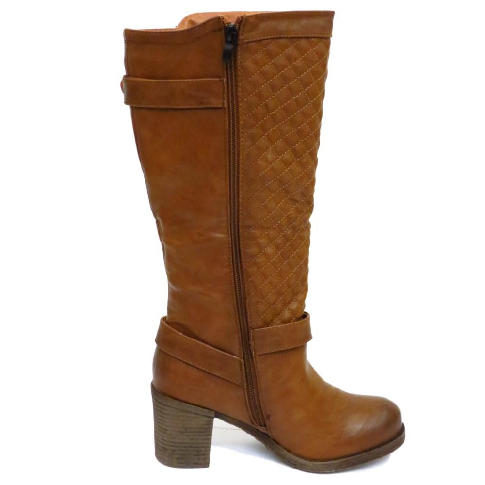 dolcis brown knee high zip block heel calf