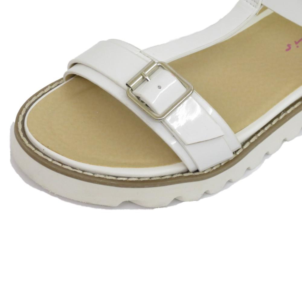 Damas Blanco Dolcis Plana Hebilla Sandalias Flip-flop T-bar Zapatos Chinelas Tamaños 3-8