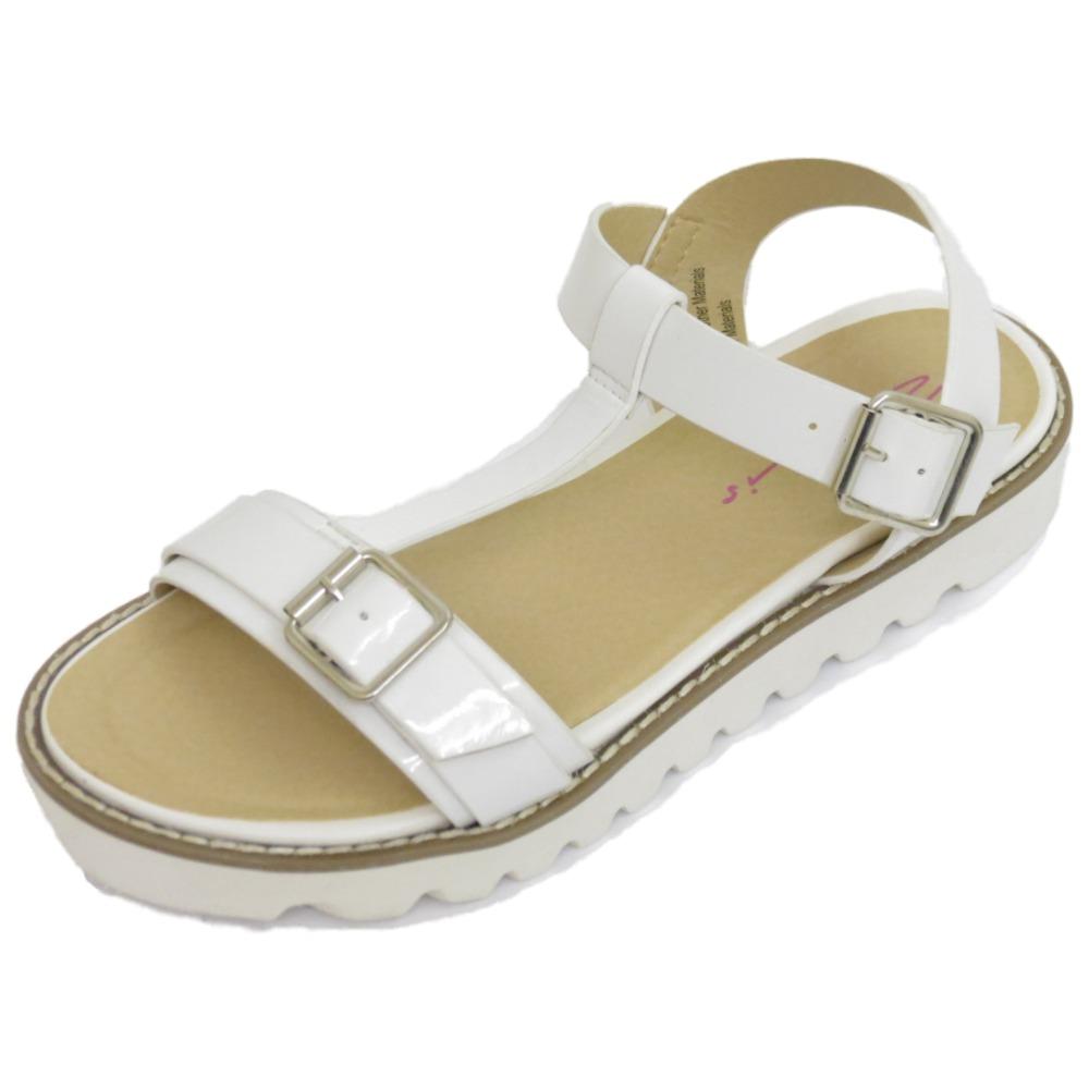 damen wei dolcis flach sandalen mit schnalle flip flop t. Black Bedroom Furniture Sets. Home Design Ideas