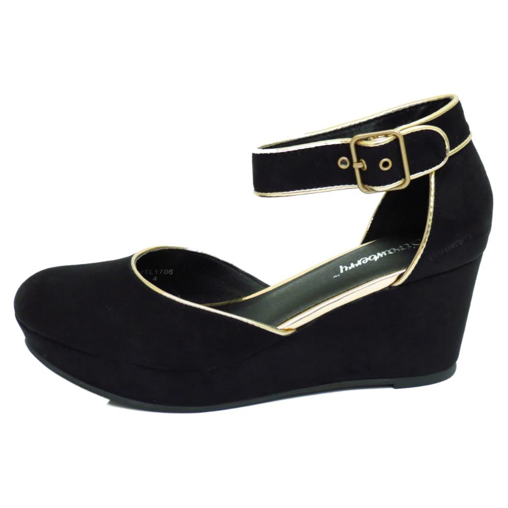 womens black mid heel wedge platform work