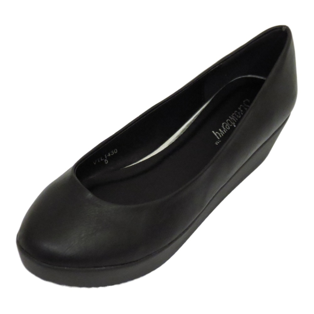 womens black low heel wedge flatform slip on work