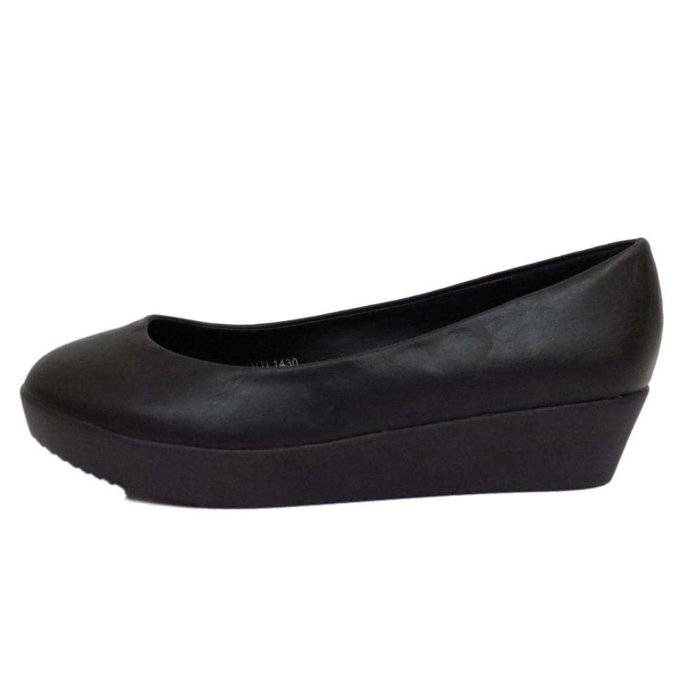 womens black low heel wedge flatform slip on work